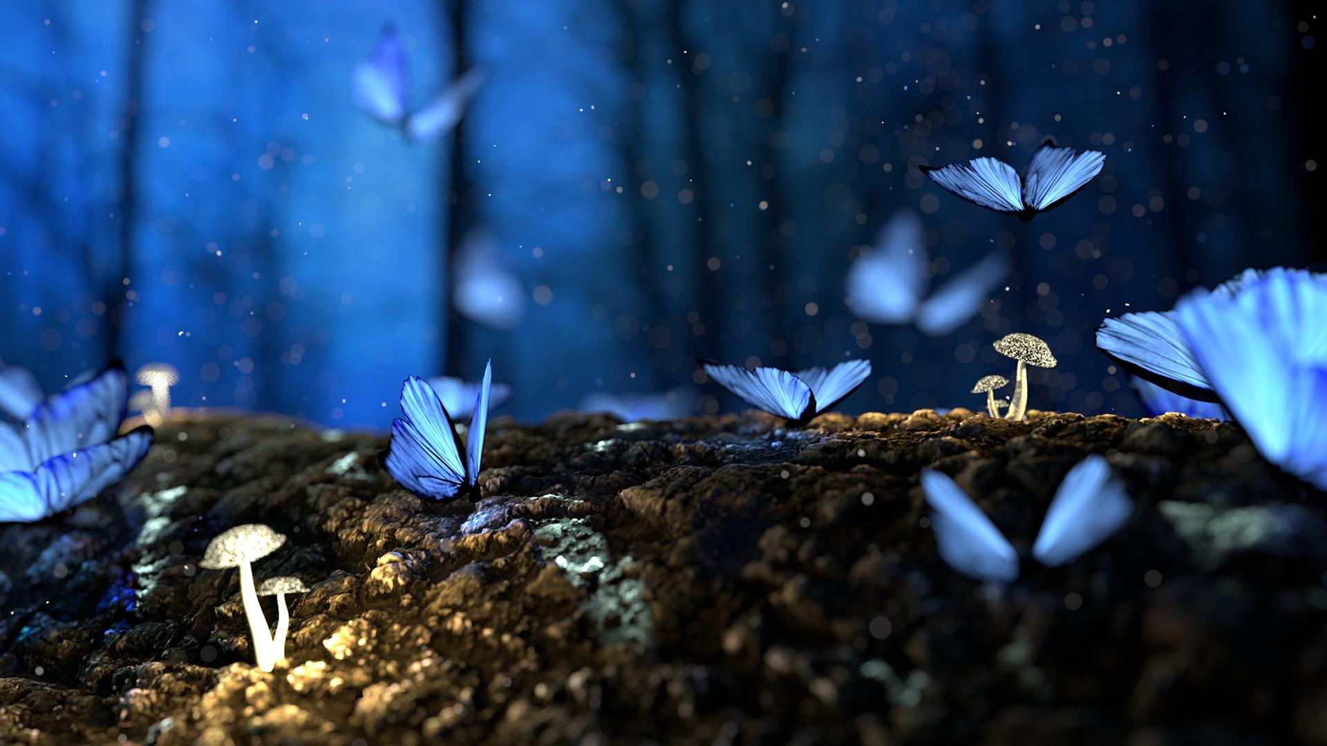 Blue Butterflies Laptop Background