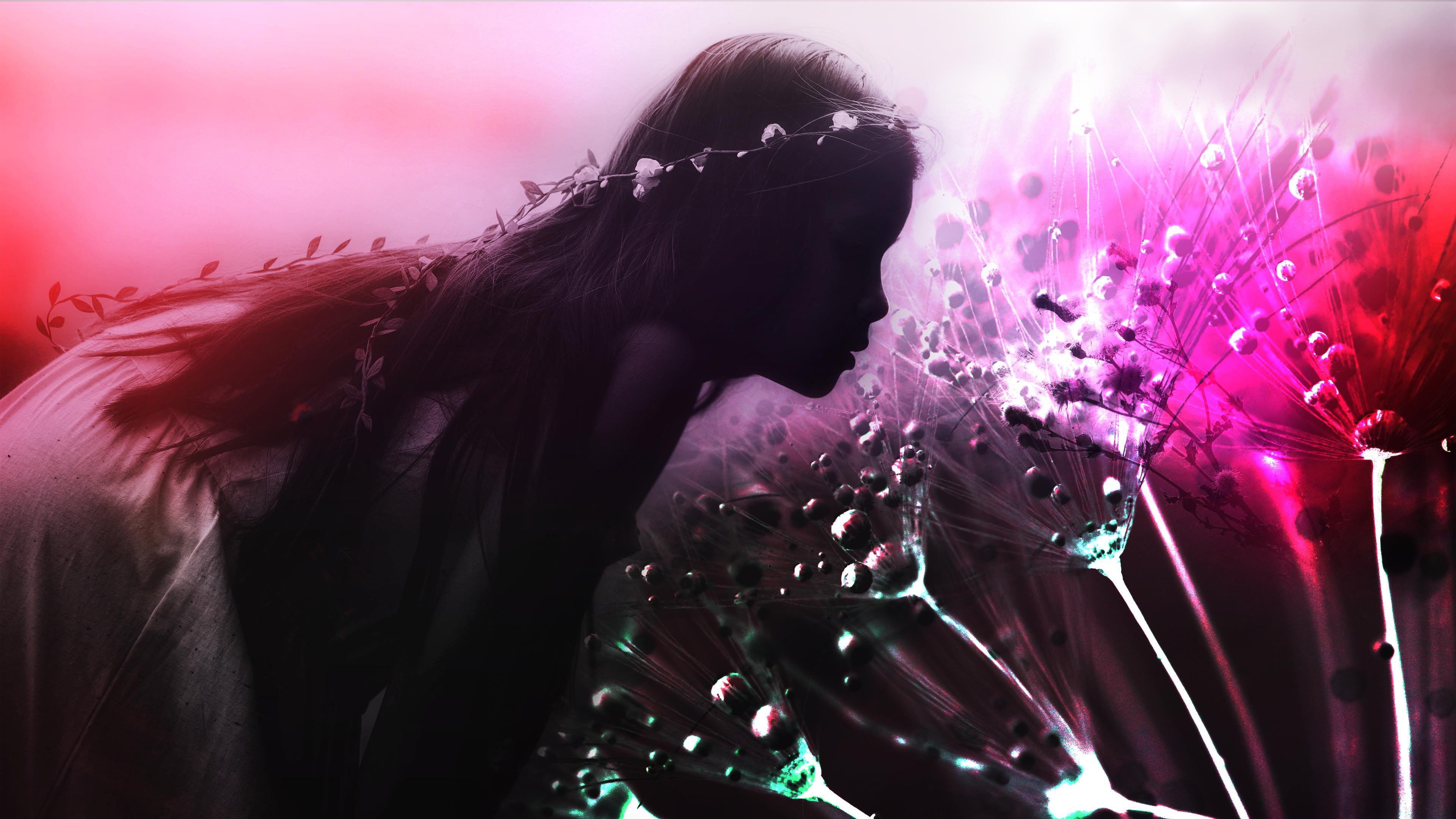 Dandelion Girl Laptop Background