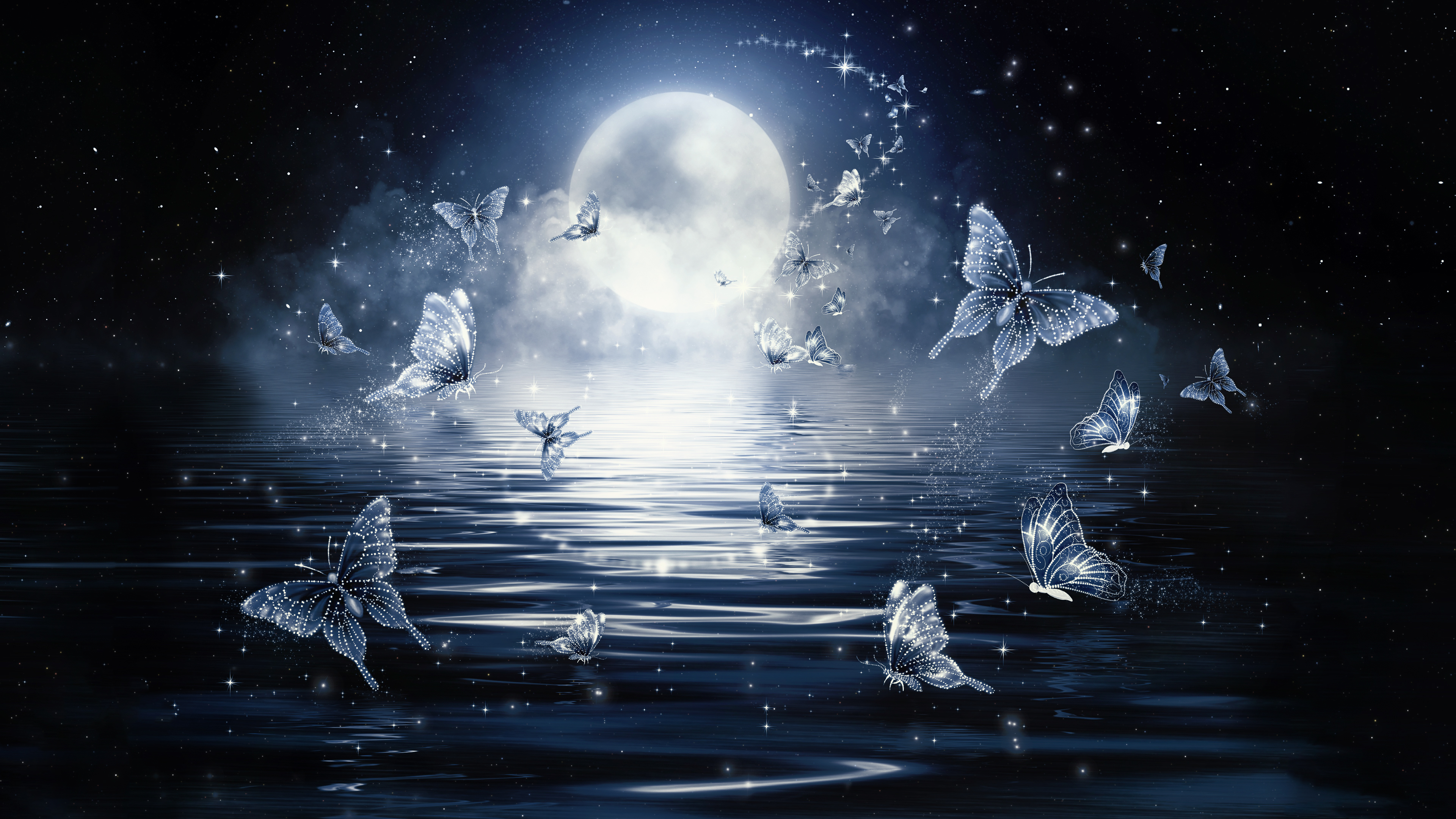 4k Moon Butterflies Wallpaper Hd