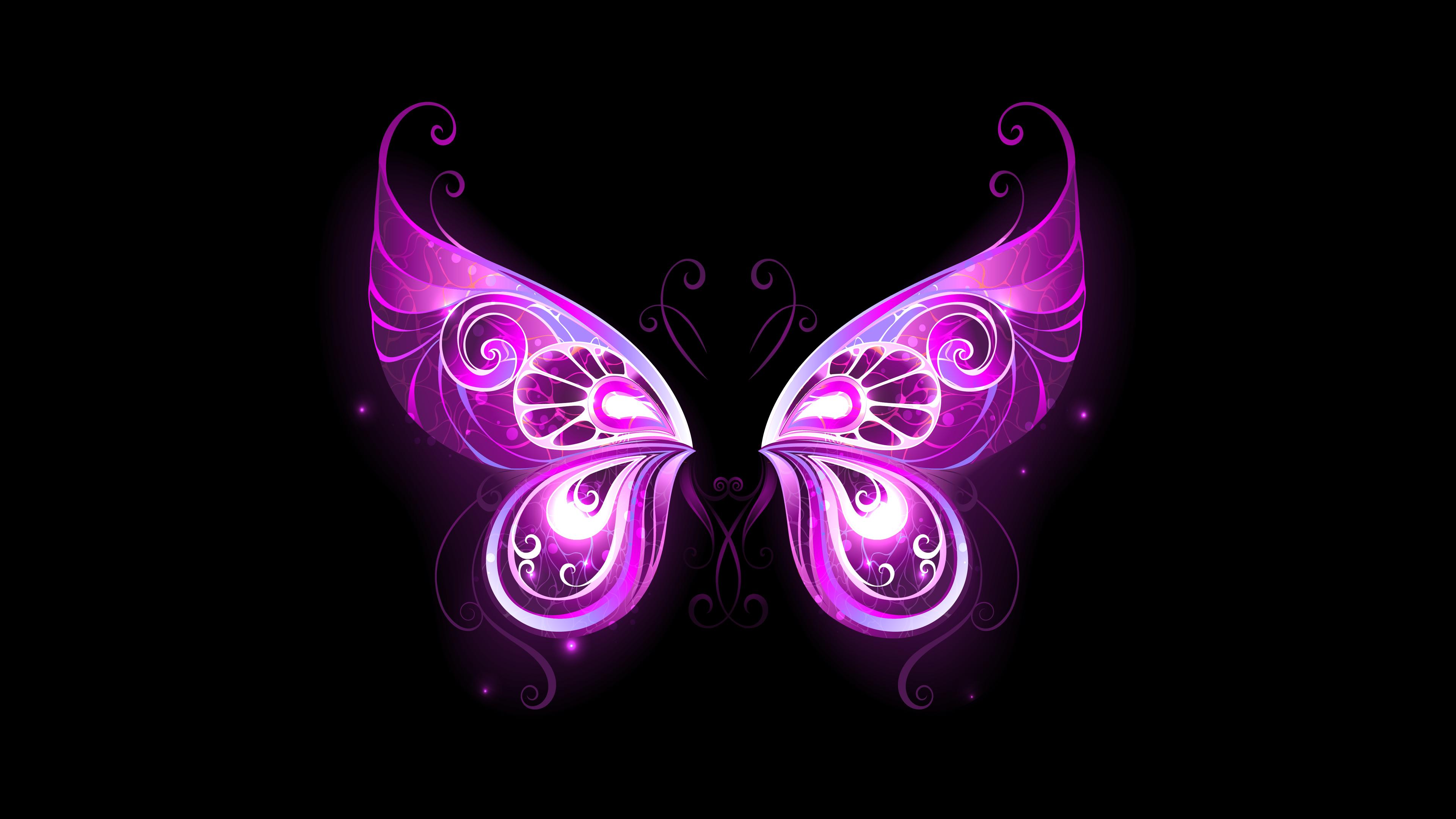 4k Purple Fairy Wings Wallpaper Hd
