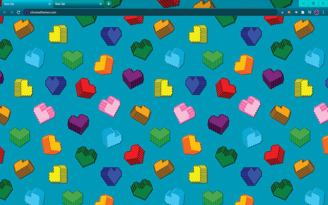 3D Hearts Google Chrome Theme