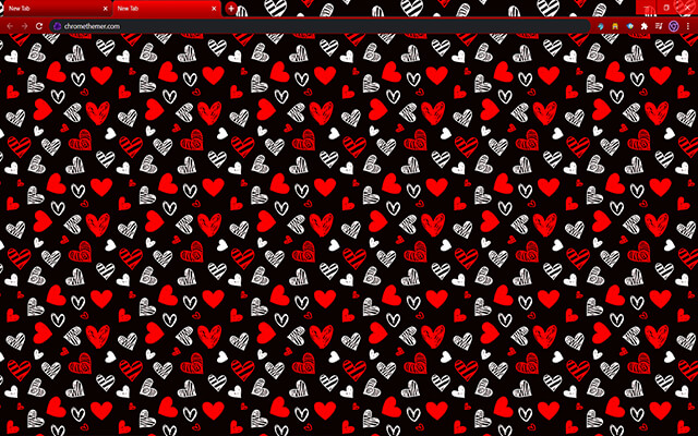 Drawn Hearts Google Chrome Theme