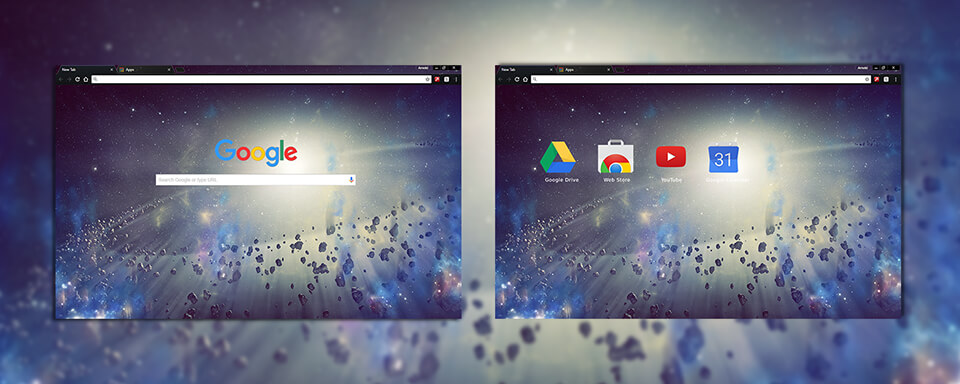 Space Rocks Google Chrome Theme