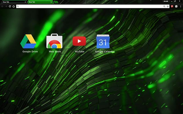 Alien Green Google Theme