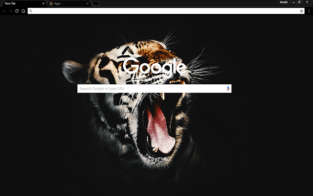 Black Tiger Google Theme