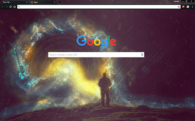 space cosmonaut google chrome theme for download