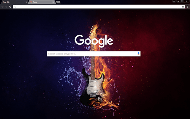 Flaming Guitar - Google Homepage