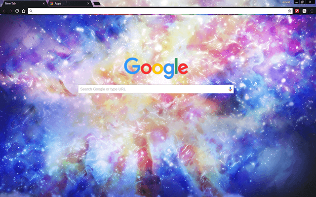 rainbow galaxy google chrome theme for download