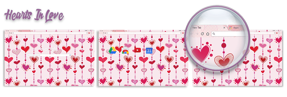 Hearts In Love Google Chrome Theme