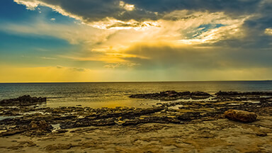 Rocky Shore Sunset Google Background