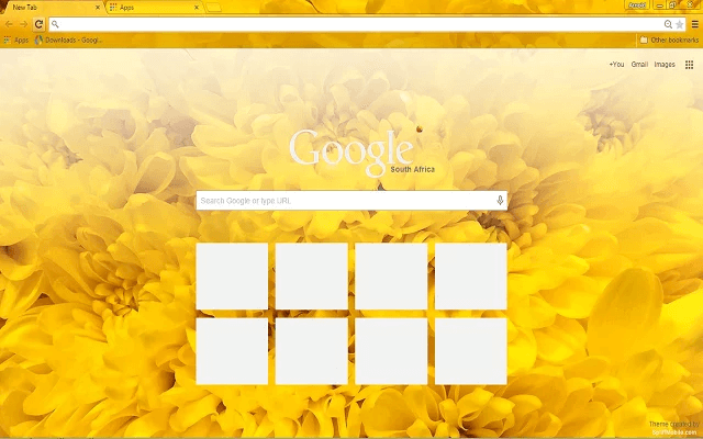 custom free yellow flowers chrome theme for google