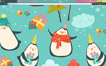Christmas Penguins Google Chrome Theme