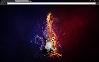 Flaming Guitar Google Chrome Theme