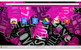 Love Skulls Pink Google Chrome Theme