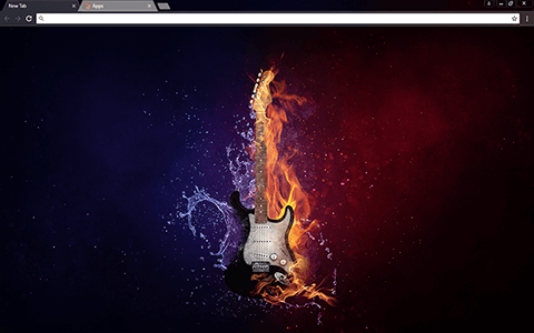 Flaming Guitar Google Chrome Theme