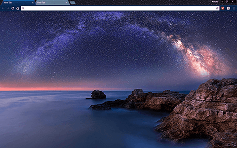 Milky Way Over The Sea Google Chrome Theme