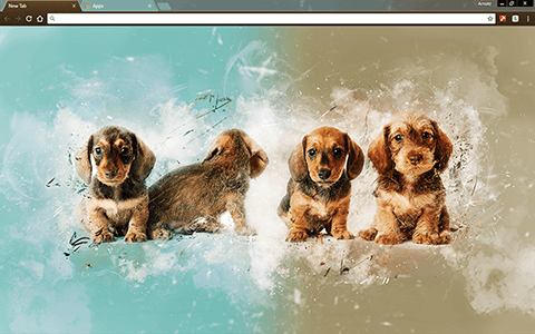 Painted Puppies Google Chrome Theme