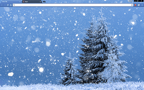 Winter Fir Tree Google Chrome Theme