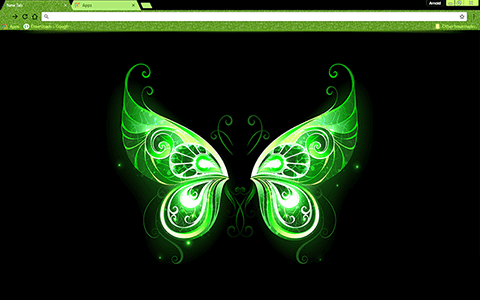 Free Green Fairy Wings Google Chrome Theme