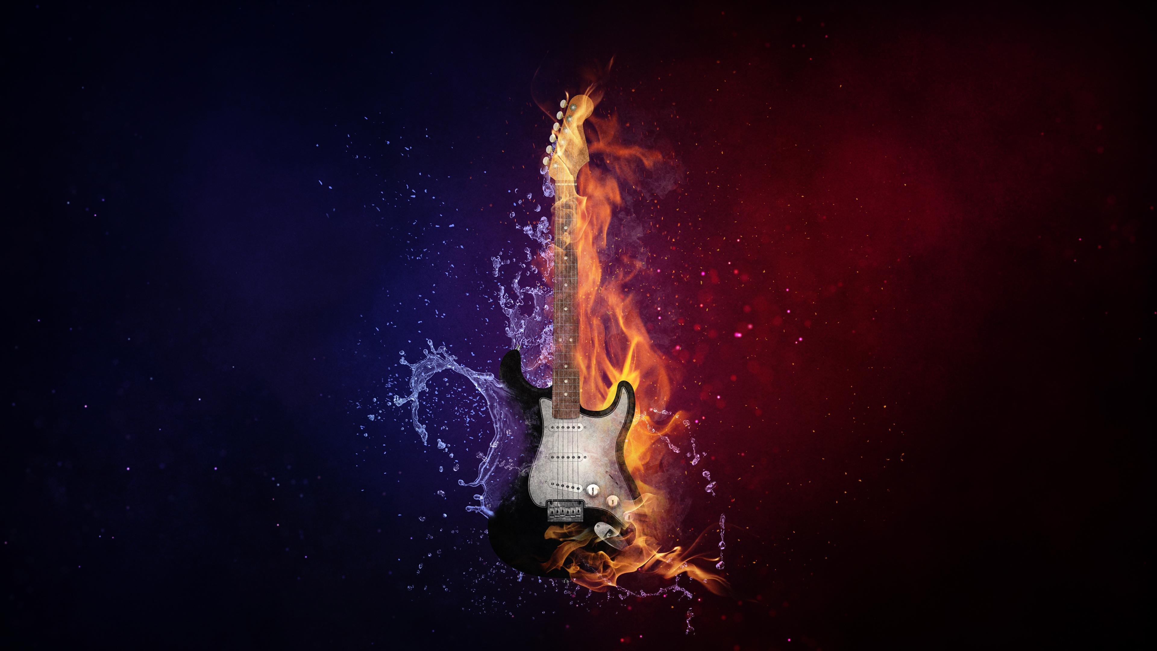 Flaming Guitar Chromebook Wallpaper
